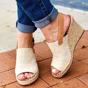 Toms Natural Oxford Women's Monica Wedges Size 8